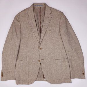 Cantarelli Sport Coat 42R Tan Beige Micro Check We